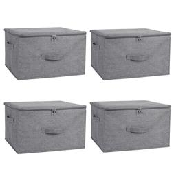 1/2/4 Pack Storage Bin Boxes Linen Fabric Cube Basket Foldab