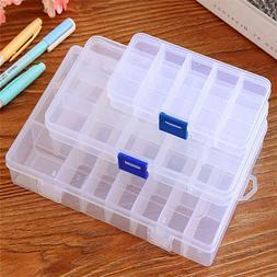 10/15/24 Slots Plastic Adjustable Jewelry Storage Box Case C