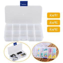 10 Compartments Clear Plastic Storage Box Jewelry Bead Screw