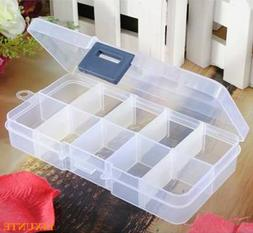 10 Compartments Clear Plastic Storage Box Jewelry Bead Screw