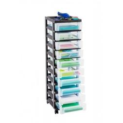 IRIS 10-Drawer Rolling Cart with Organizer Top Black, MC-310