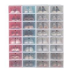 12-24pack Foldable Shoe Box Storage Plastic Transparent Case