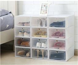 12/24pcs Foldable Plastic Transparent Shoe Box Storage Clear