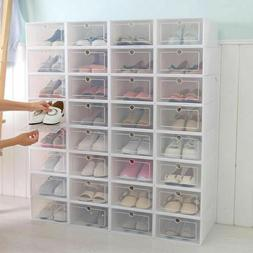 12/24Pcs Foldable Shoe Box Storage Plastic Transparent Case