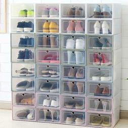 12/24Pcs Foldable Shoe Box Storage Plastic Transparent Case
