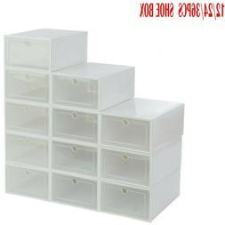 12-36pcs Foldable Shoe Box Storage Plastic Transparent Case