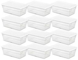 12 Pack Large Plastic Storage Box Set Container Clear Tote B