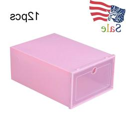 12 Pcs Foldable Organizer Shoes Box Storage Plastic Transpar