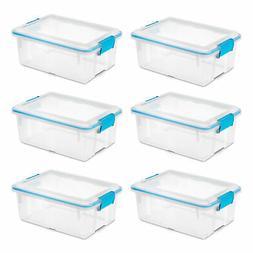 Sterilite 12 Qt Plastic Storage Bin Container Clear Gasket S