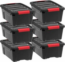 IRIS USA 12 Quart Hard Plastic Stack and Pull Closet Black S