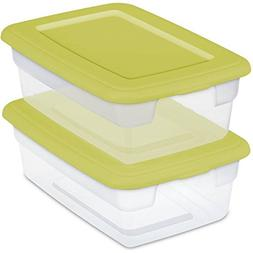 Sterilite 12-Quart Storage Boxes, Kiwi Fruit, Set of 2, Case