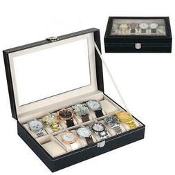 12 Slot Watch Box Leather Display Case Organizer Top Glass J