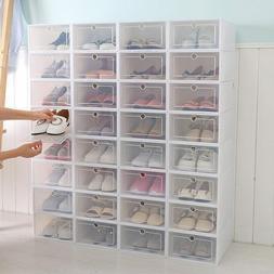12Pcs/6Pcs Foldable Shoe Box Storage Plastic Transparent Cas
