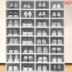12pcs Foldable Shoe Box Clear Storage Case Sneaker Container