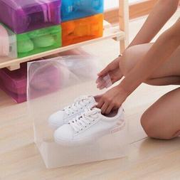 12Pcs Foldable Shoe Box Storage Plastic Transparent Case Sta