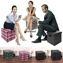 "14.4""x14.4"" Large Folding Storage PVC Leather/Suede Ottoman"