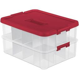 Sterilite 1427 Stack & Carry 2 Layer 24 Ornament Storage Box