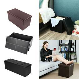 "15"" 43'' Ottoman Storage Box Leather Folding Seat Ottomans C"