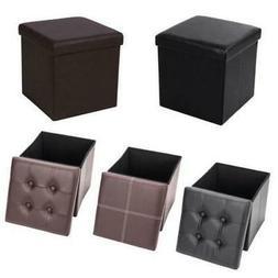 """15"""" Cube Ottoman Pouffe Storage Box Lounge Seat Footstools"""