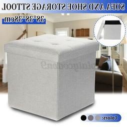 15'' Folding Ottoman Storage Bench Foot Rest Stool Fabric To