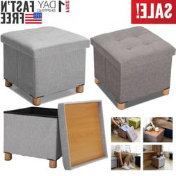 "15"" Folding Ottoman Bench Storage Stool Box Footrest Furnitu"