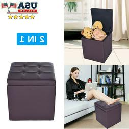 Storage Ottoman - Folding Toy Box Chest Seat Ottomans Bench