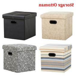 "15"" Storage Ottoman - Folding Toy Box Chest Ottomans Seat Be"