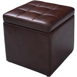 """16"""" Cube Ottoman Pouffe Storage Box Lounge Seat Footstools"""