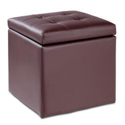 "16"" Storage Box Ottoman Square Seat Foot Stool Chair Cube Hi"