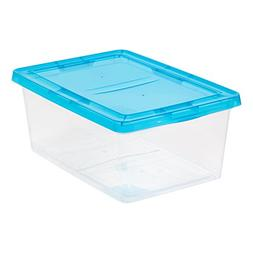 IRIS 17 quart Clear Storage Box with Teal Lid, 12 Pack