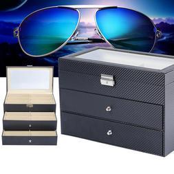 18 Grid Eye Glasses Organizer Case Eyewear Sunglasses Displa