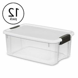 Sterilite 18 Quart Ultra Latch Storage Box with White Lid &