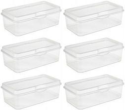 6 Pack) Sterilite 18058606 Plastic FlipTop Latching Storage