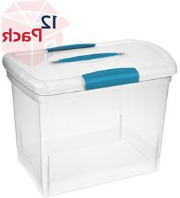 Sterilite 18768606 Clear Nesting Showoffs Box with Blue Aqua