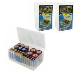 2 Battery Storage Box Rack Holder Case Organizer Holds 68 AA
