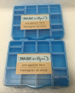2 Blue Craft Storage Box 12 Squares & DIVIDERS