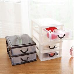 2 Layers Small Plastic Desktop Drawer Storage Solution Unit