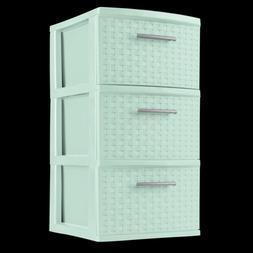 2 Pack 3 Drawer Storage Organizer Sterilite Weave Cabinet Bo