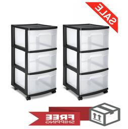 2 PACK Cart 3 Drawer Storage Boxes Sterilite Home Organizer