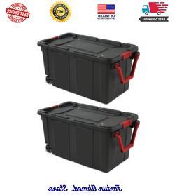 2 Pack Heavy Duty Storage Box 40 Gal Wheeled Industrial Tote