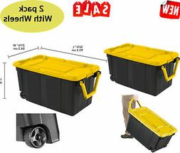 2 pack latch tote storage box wheeled