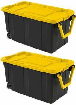 2 PACK Sterilite Latch Tote Storage Box Wheeled 40 Gallon Co