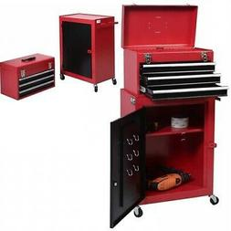 2 Piece Mini Tool Chest And Cabinet Storage Box Rolling Gara