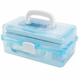 MyGift 2-Tier Blue Plastic Multipurpose Storage Box w/Handle