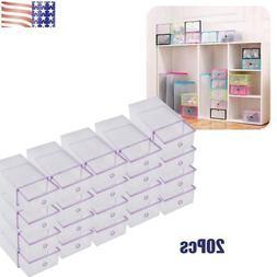 20Pcs Storage Boxes Foldable Shoe Box Organizer Shoe Storage