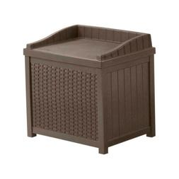 Suncast 22 Gallon Outdoor Resin Wicker Deck Storage Box with