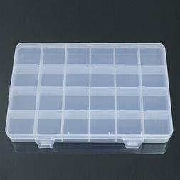 24 Compartments Plastic Box Jewelry Bead Storage Container C