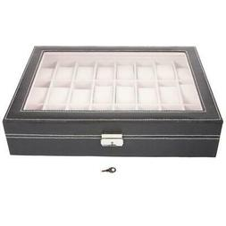 24 Slot Black Leather Watch Box Jewelry Storage Organizer w/
