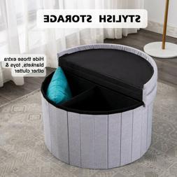 """25"""" Round Storage Ottoman-Folding Toy Box Chest Seat Ottoman"""