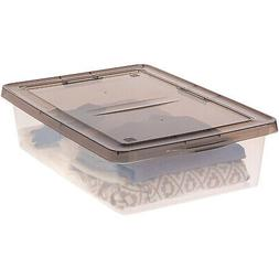 IRIS 28 Quart Clear Storage Box with Gray Lid, 2 Pack